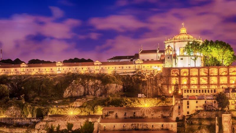 Oporto, Portugal: el Serra hace a Pilar Monastery en el lado de Vila Nova de Gaia imagenes de archivo