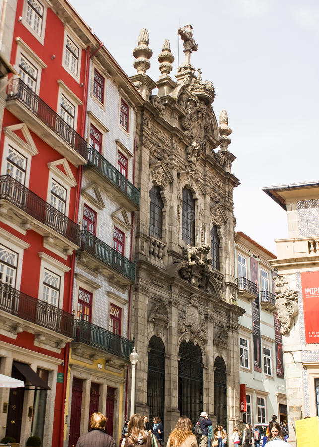 Oporto, Portugal: Misericórdia church and Flores (flowers) street royalty free stock image