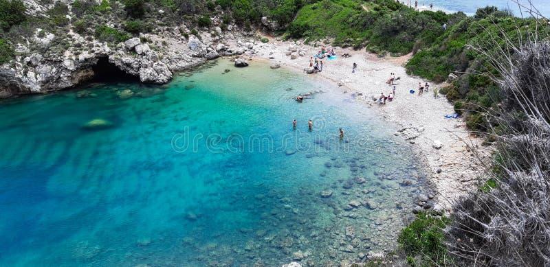 Oporto Timoni, spiaggia a Corfù immagini stock