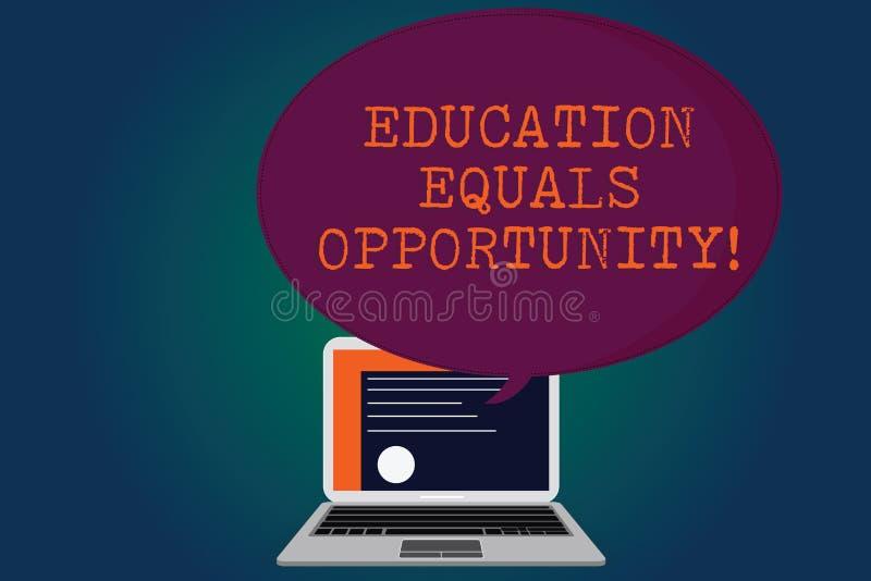Oportunidade de iguais da educação do texto da escrita Conceito que significa direitos similares de ganhar o conhecimento em um c ilustração royalty free