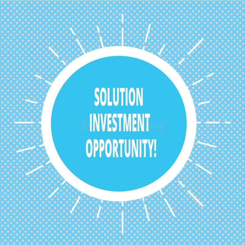 Oportunidade de investimento da solução da escrita do texto da escrita Conceito que significa estratégias antes de empreender um  foto de stock