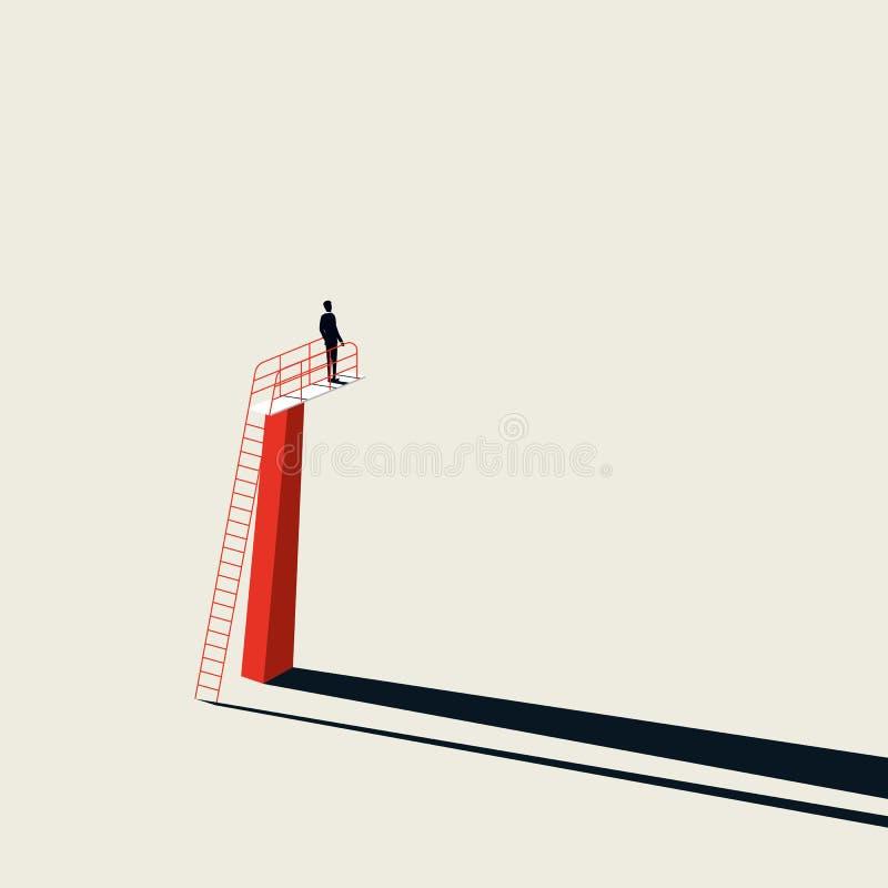 Oportunidade de negócio e conceito do vetor do desafio com o homem de negócios na placa de salto Estilo minimalista da arte S?mbo ilustração do vetor