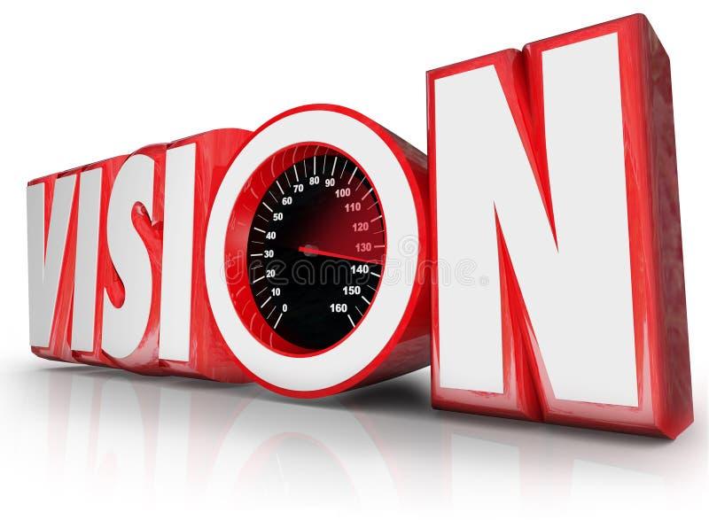 Oportunidade do futuro da liderança do velocímetro da palavra da visão 3d ilustração royalty free