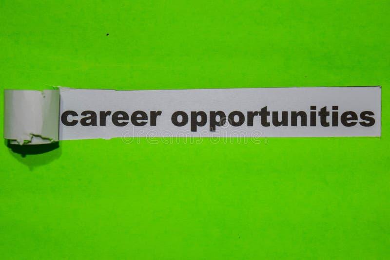 Oportunidades de la carrera, inspiración y concepto del negocio en el papel rasgado verde fotografía de archivo libre de regalías