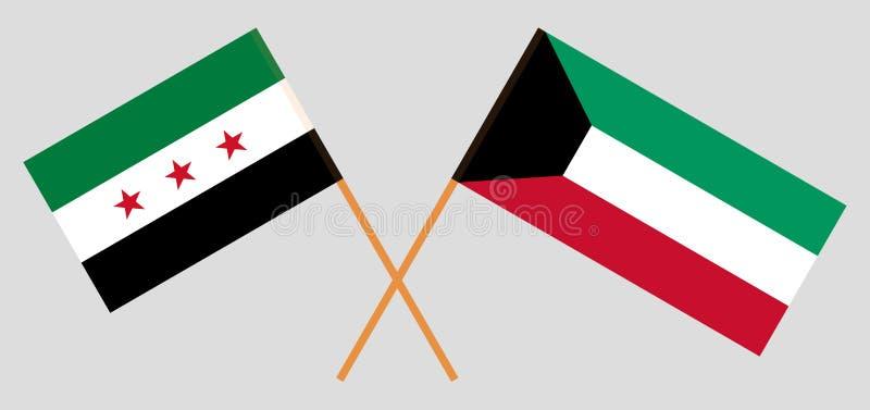 Oposición de Kuwait y de Siria Banderas nacionales kuwaitíes y sirias de la coalición Colores oficiales Proporción correcta Vecto libre illustration