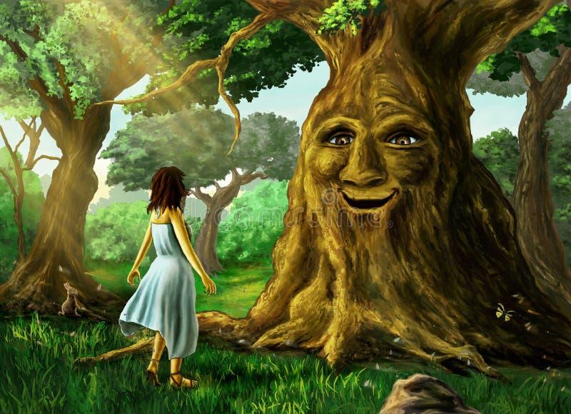 Opowiadać drzewa ilustracja wektor