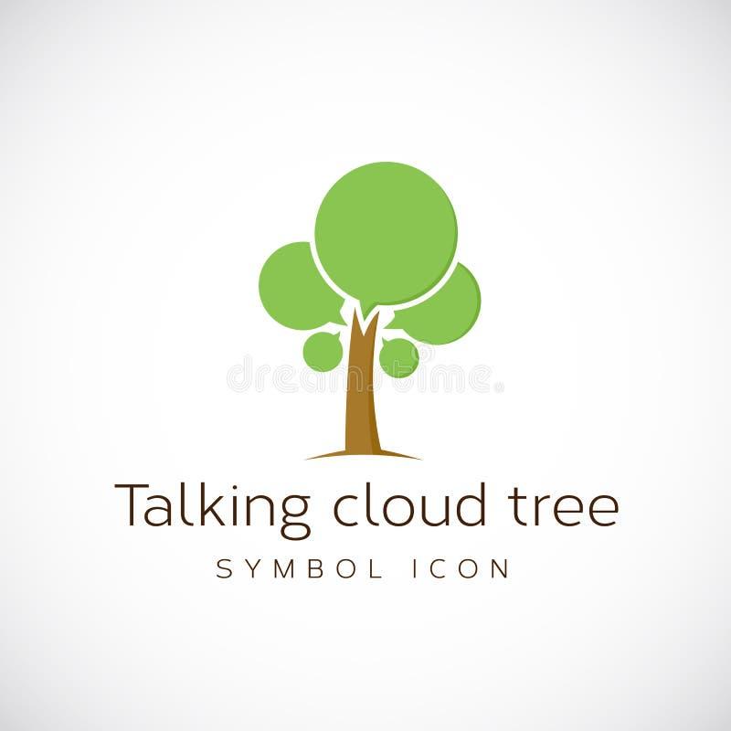 Opowiadać Obłoczną Drzewną Wektorową pojęcie symbolu ikonę ilustracji