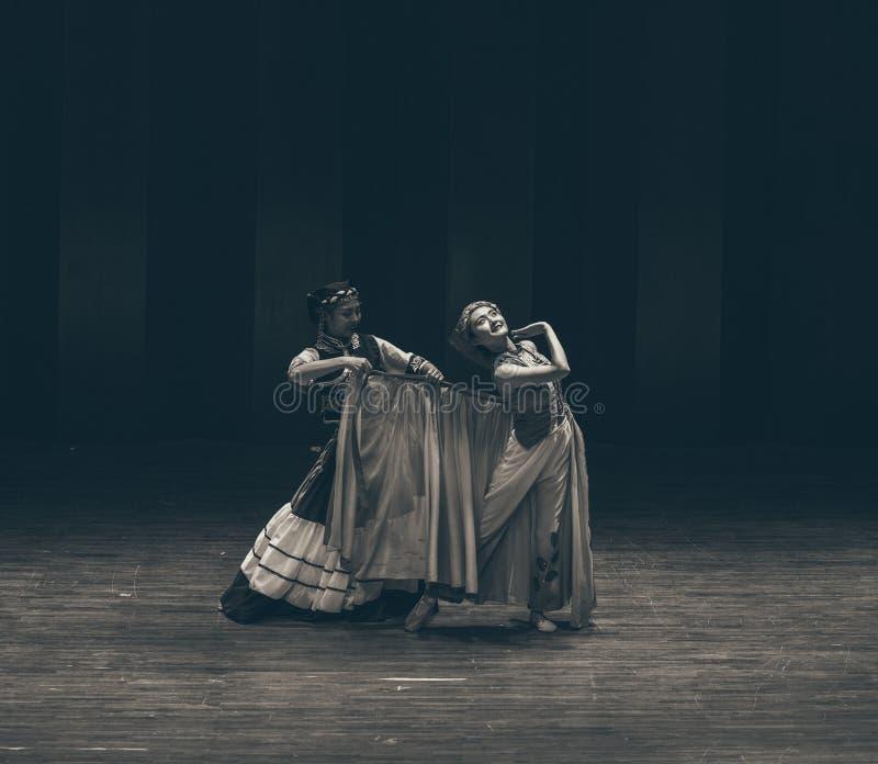 Opowiadać pod tana dramata Axi Yi ludowym tanem obraz royalty free