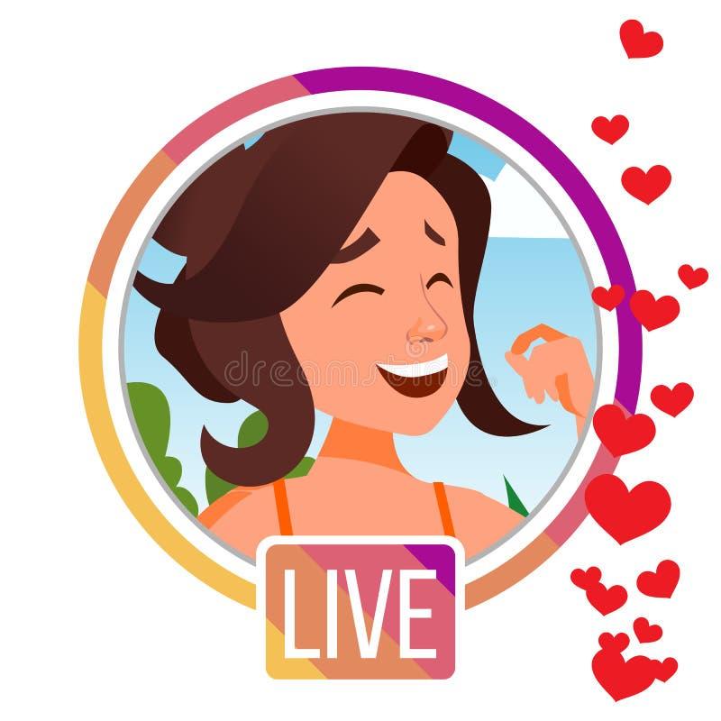 Opowieści Wektorowe Dziewczyny Streamer Żywego wideo Lać się Online Leje się wideo Ogólnospołeczny medialny pojęcie Podaniowa wis ilustracji