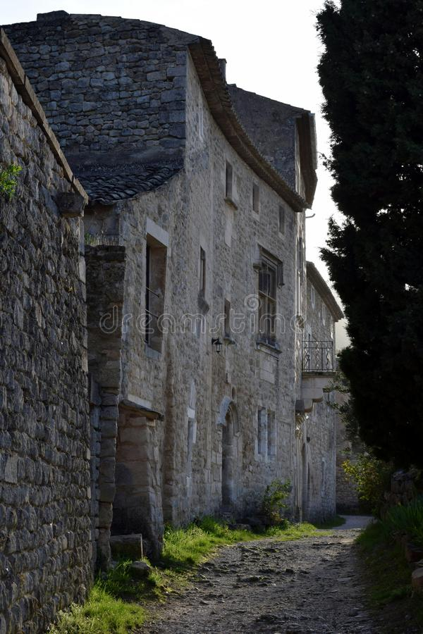 Oppede-le-Vieux Restored 12thC kalkstenhus arkivbild