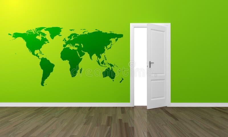 Oppen ampuły drzwiowej zieleni ścienna i drewniana podłoga royalty ilustracja