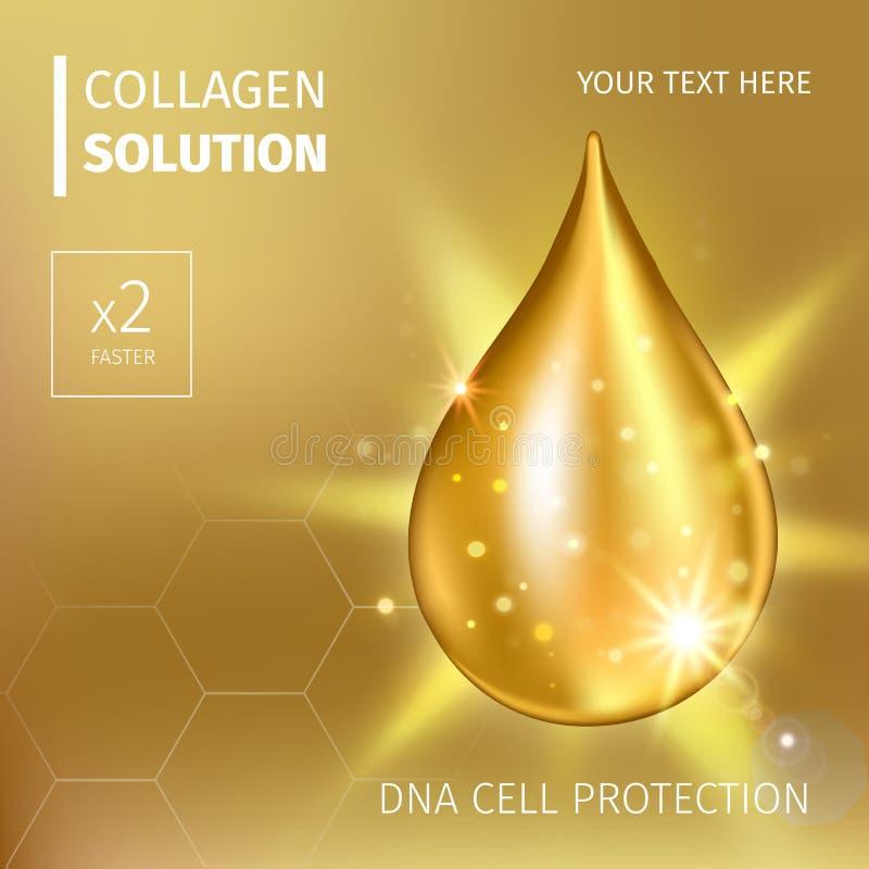 Opperste de dalingsessentie van de collageenolie Druppeltje van het premie het glanzende serum Vector illustratie van Schoonheids