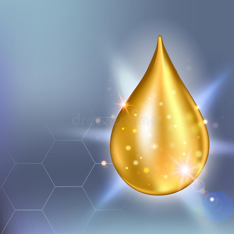 Opperste de dalingsessentie van de collageenolie Druppeltje van het premie het glanzende serum Vector illustratie van Schoonheids royalty-vrije illustratie