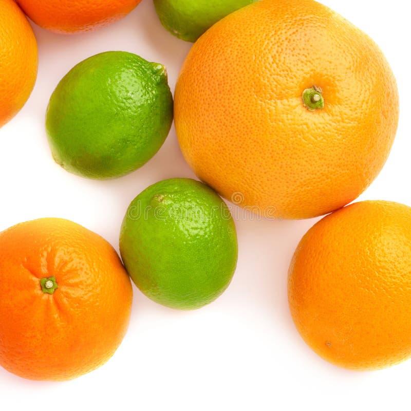 Oppervlakte met citrusvruchten over wit geïsoleerde achtergrond wordt behandeld die stock afbeeldingen