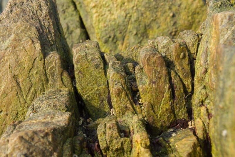 Oppervlakte van groene steen met scherpe uitsteeksels stock afbeeldingen