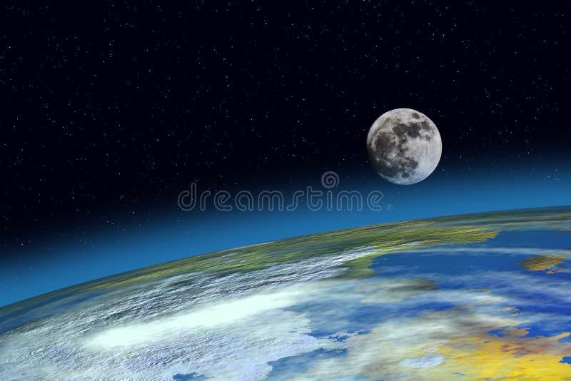 Oppervlakteaarde en Maan vector illustratie