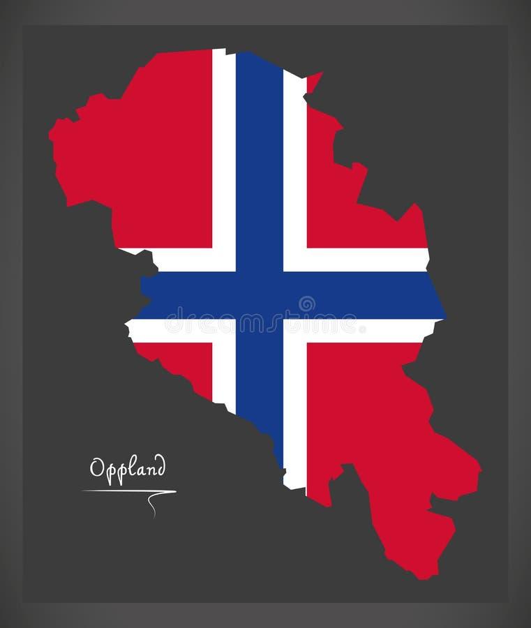 Oppland mapa Norwegia z Norweską flaga państowowa ilustracją ilustracji