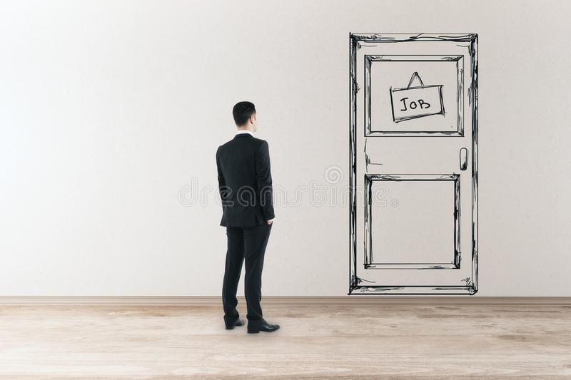 Oppoptunity and success concept. Young businessman in concrete interior looking at drawn foor with job banner. Opportunity and success concept. 3D Rendering vector illustration