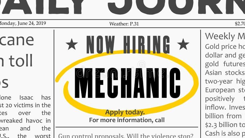 Opportunit? di carriera del meccanico royalty illustrazione gratis