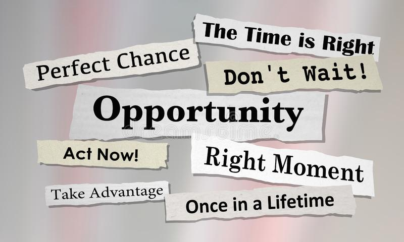 Opportunities Chance for Success News Headlines vector illustration