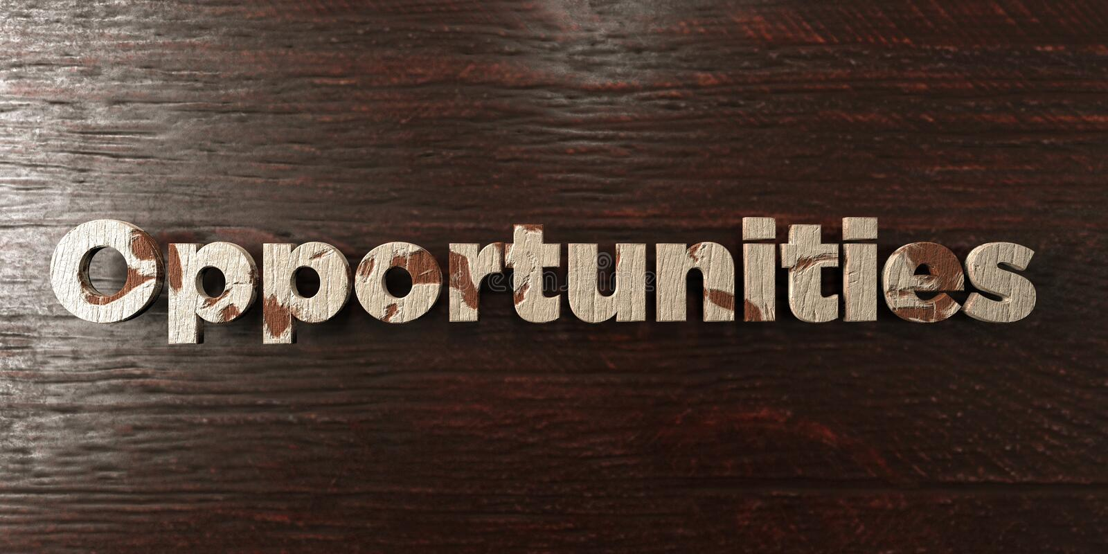 Opportunities - grungy wooden headline on Maple - 3D rendered royalty free stock image. This image can be used for an online website banner ad or a print stock illustration