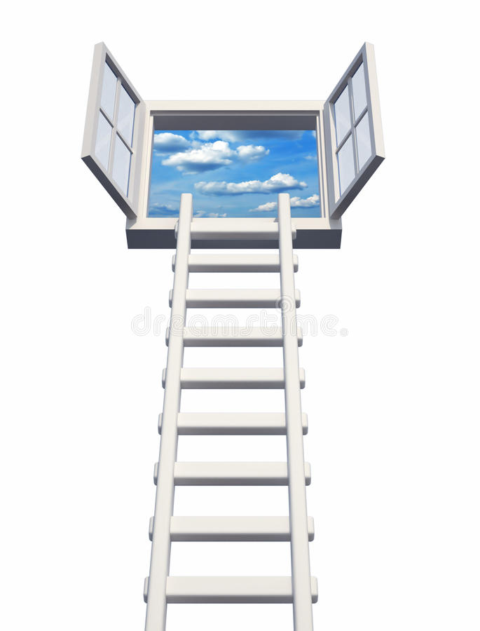 Opportunity. Ladder on an open window, isolated on white - 3d render