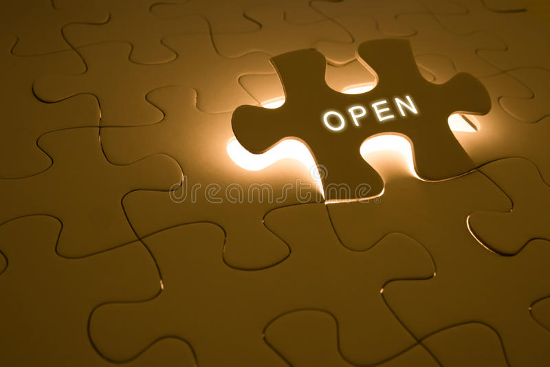 Opportunity concept. With open word on puzzle royalty free stock photos