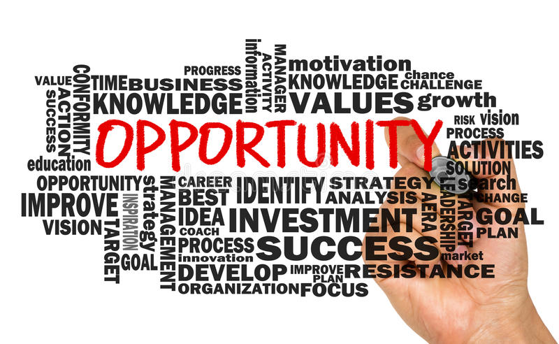 Opportunity concept with related word cloud. Handwritten on whiteboard royalty free stock image