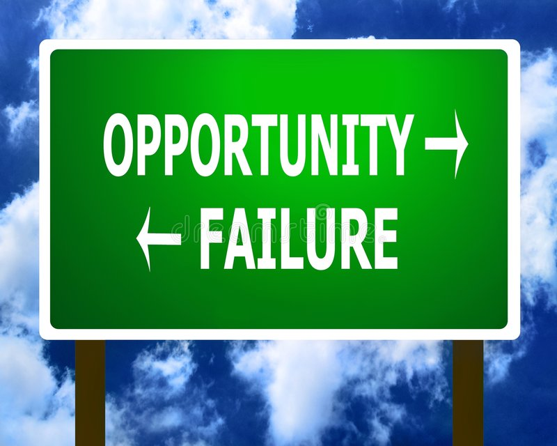 Opportunity failure road sign. Opportunity failure direction road street sign and the sky royalty free illustration
