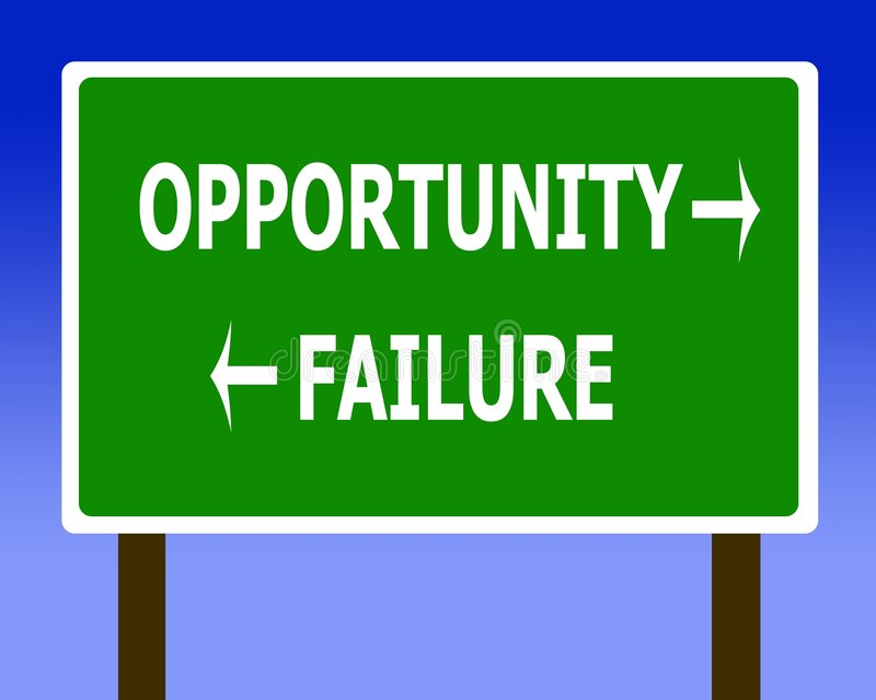 Opportunity failure sign. Symbol green blue royalty free illustration