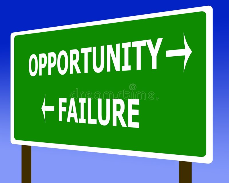 Opportunity failure sign symbol. And the sky stock illustration