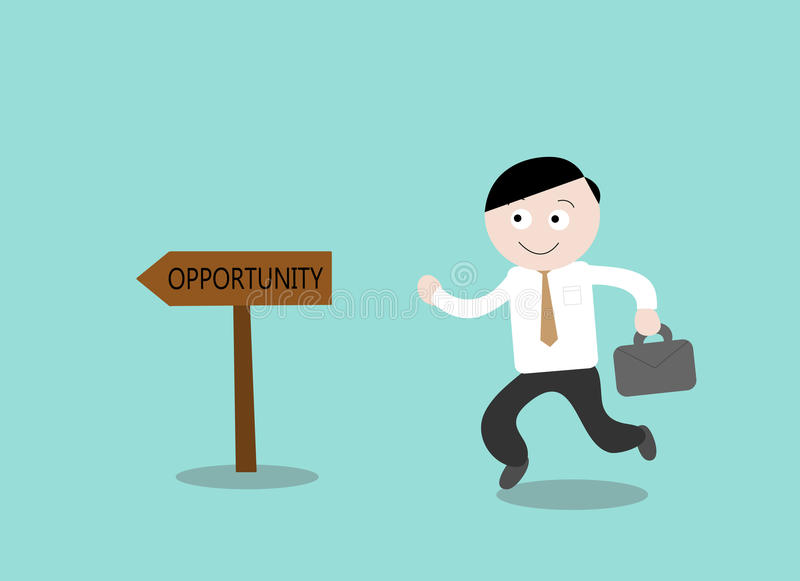 Opportunity. A hand drawn vector illustration of a businessman heading towards his opportunity to success royalty free illustration