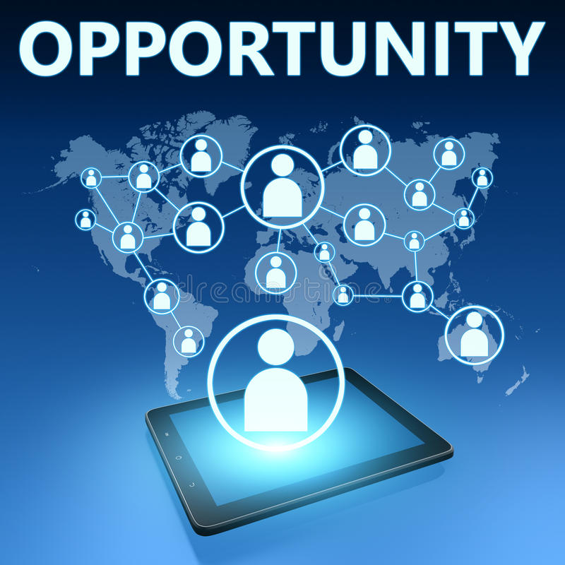 Opportunity. Illustration with tablet computer on blue background vector illustration