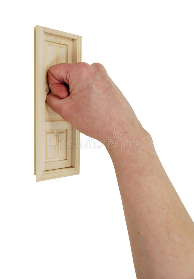 Opportunity knocks. House with wooden shutters covering the window with a hand knocking-Path orig size stock photos