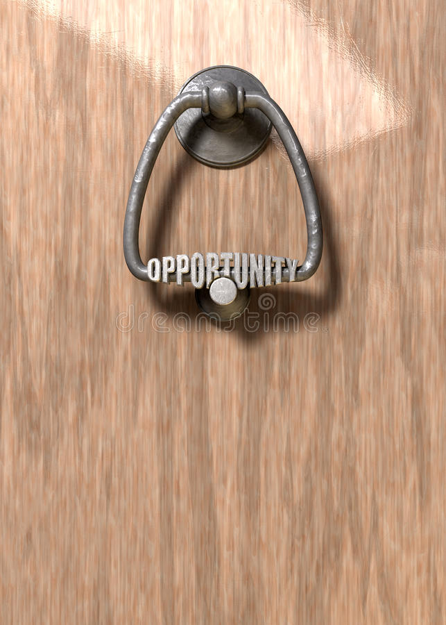 Opportunity Knocks Door Knocker. A metal door knocker with the word opportunity extruded on it on a wooden door royalty free stock images