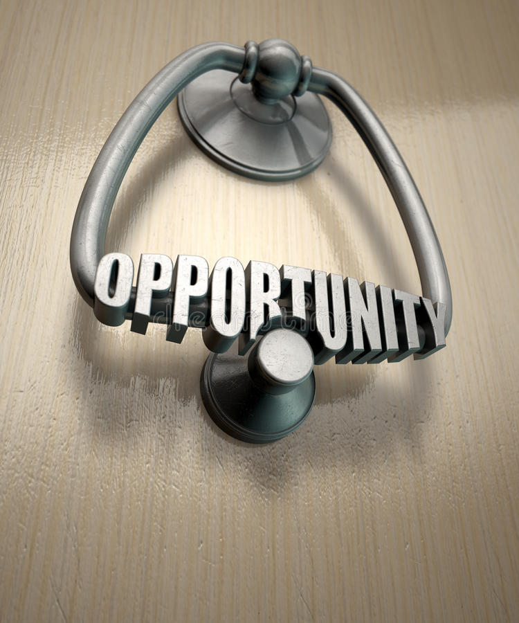 Opportunity Knocks Door Knocker. A metal door knocker with the word opportunity extruded on it munted on a wooden door background with copy space stock images