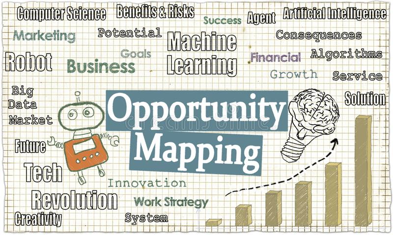 Opportunity Mapping with Tech Words on Classic Old Paper stock illustration