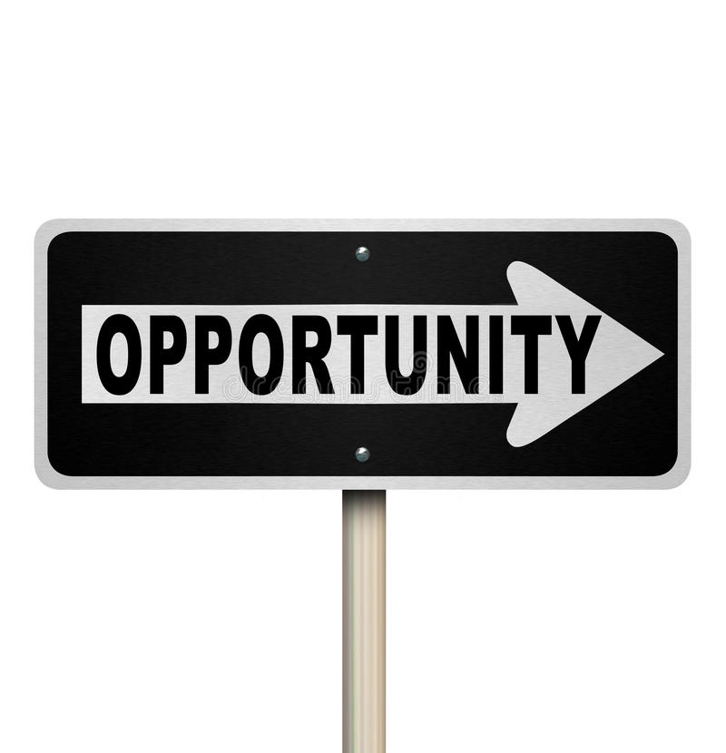 Opportunity One-Way Road Sign Chance for Success. A road sign with the word Opportunity and arrow pointing right to symbolize a chance or moment for success in a stock illustration