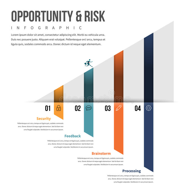 Opportunity and Risk Infographic. Vector illustration of opportunity and risk infographic design element royalty free illustration