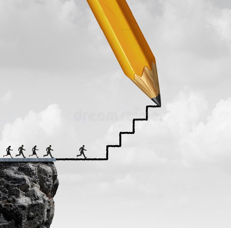 Opportunity Success Action. Help concept as a pencil drawing stairs for helping business people or motivation for climbing towards opportunities with 3D render vector illustration