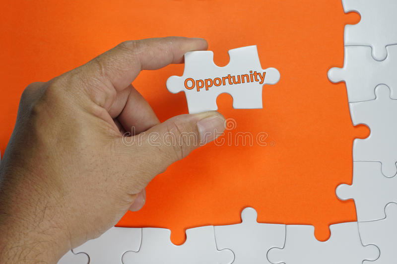 Opportunity Text - Business Concept. Opportunity word on white puzzle - Business Concept stock image