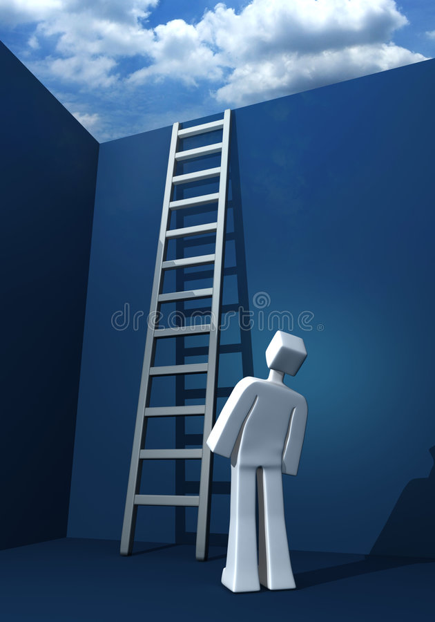 Opportunity to success. 3d man looking at the staircase and cloud stock illustration