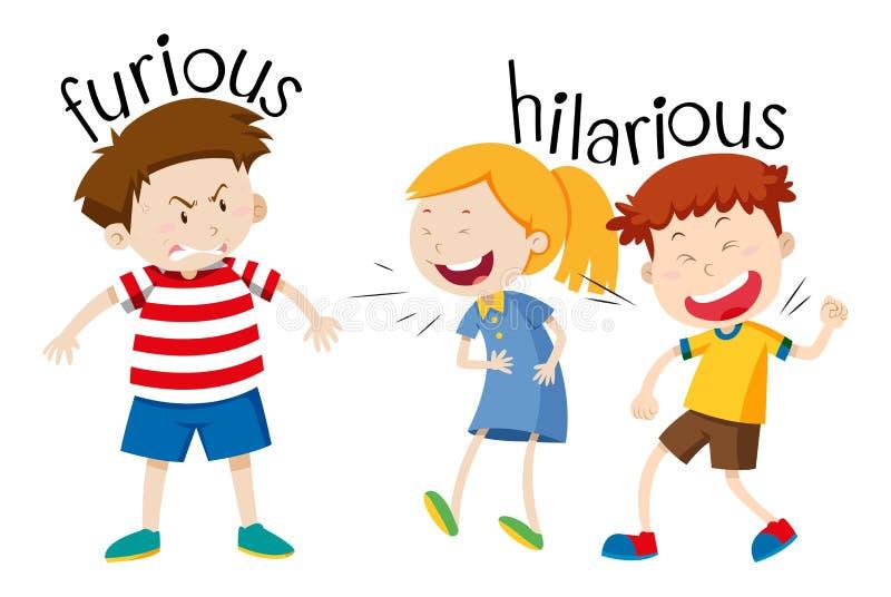 Opposúx furieux et hilares illustration stock