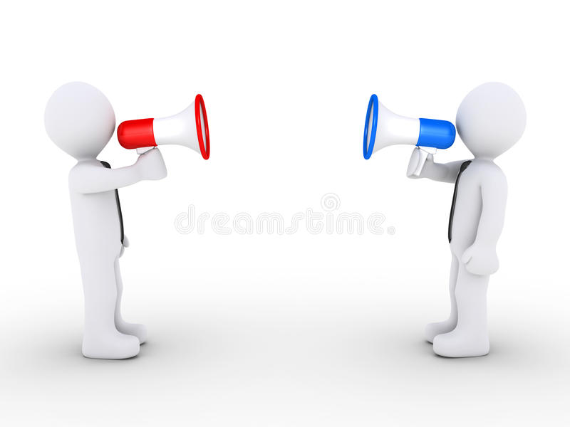 Opposing businessmen with megaphones vector illustration
