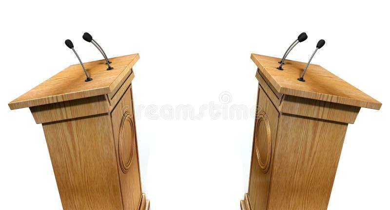 Opposing Debate Podiums. Two opposing regular wooden debate podiums signifying a debate on an isolated white studio background royalty free stock image