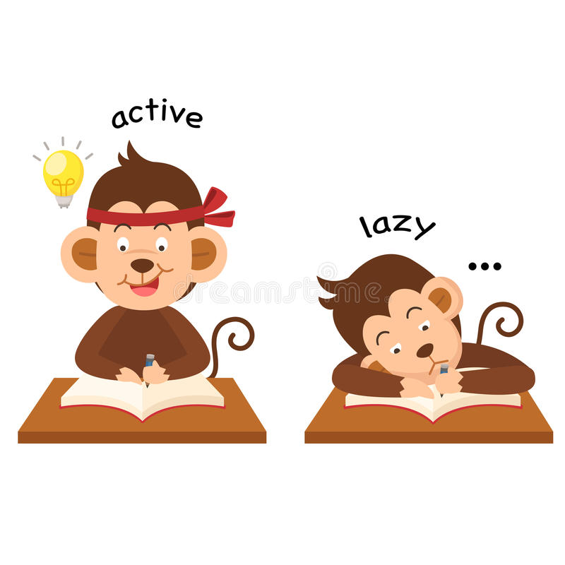 Opposite active and lazy illustration royalty free illustration