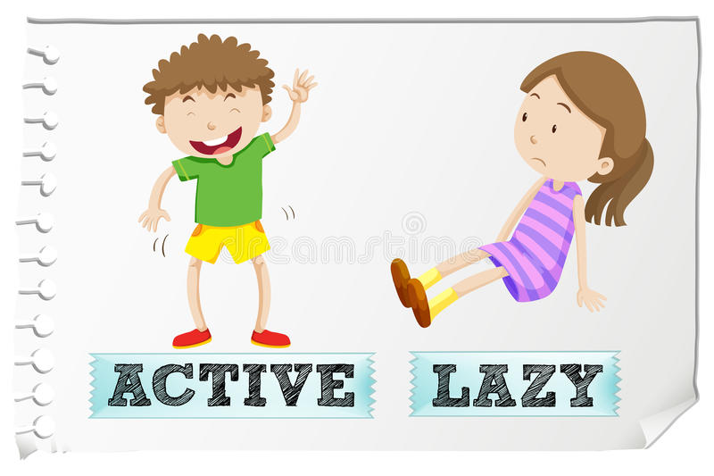 Opposite adjectives active and lazy stock illustration