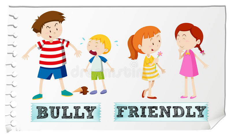 Opposite adjectives bully and friendly royalty free illustration