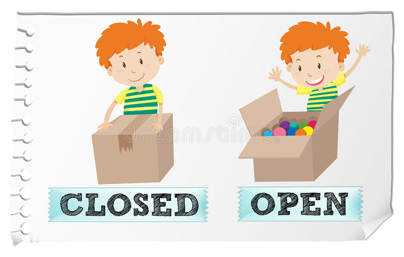 Opposite adjectives closed and open stock illustration