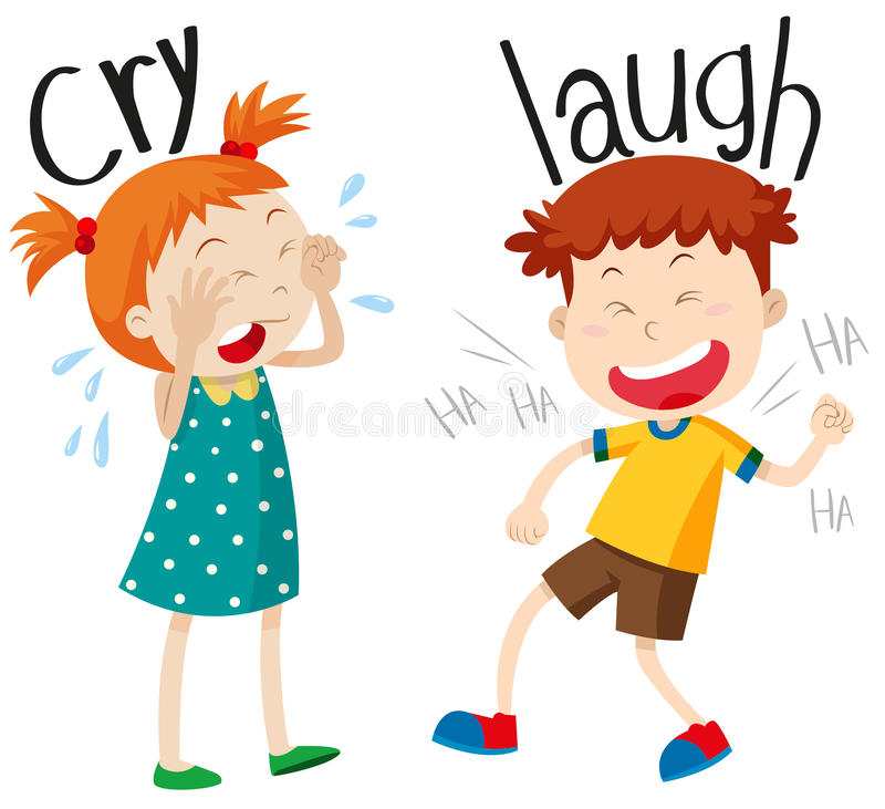 Opposite adjectives cry and laugh. Illustration vector illustration